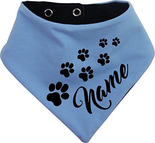 KLEINER FRATZ beidseitiges Multicolor Hunde Wende- Halstuch (Fb: hellblau-Navy) (Gr.2 - HU 31-35 cm) mit dem Namen Ihres Tieres