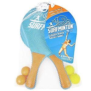 VIAHART Surfminton Classic Beach Tennis Wooden Paddle Game Set (2 Balls, 2 Thick Water Resistant Wooden Rackets, 1 Reusable Mesh Bag)