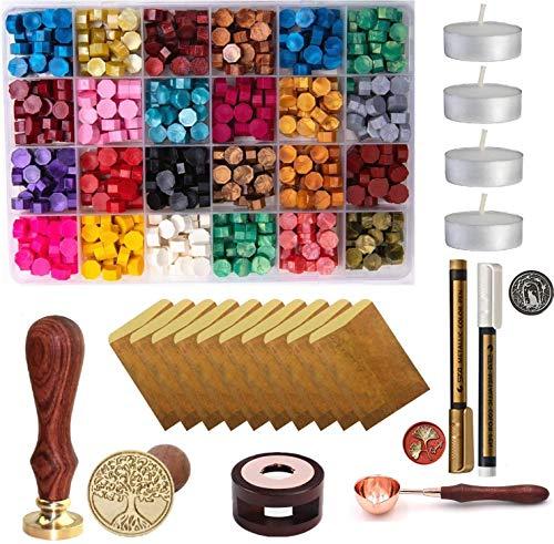 Wax Seal Set, 600 Pcs Octagon Sealing Wax Beads with 1 Pcs Melting Furnace, 1 Pcs Tree of Life Stamp, 10 Pcs High-Grade Vintage Envelope, 4 Pcs Tea Candles and 1Pcs Wooden Handle Wax Melting Spoon