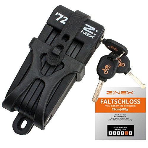 Z:NEX Fahrradschloss/Faltschloss/Gliederschloss mit hoher Sicherheitsstufe/Speziell gehärteter Stahl / 8 Glieder/sehr leicht & kompakt - nur 686g / inkl. Transporttasche/Halterung