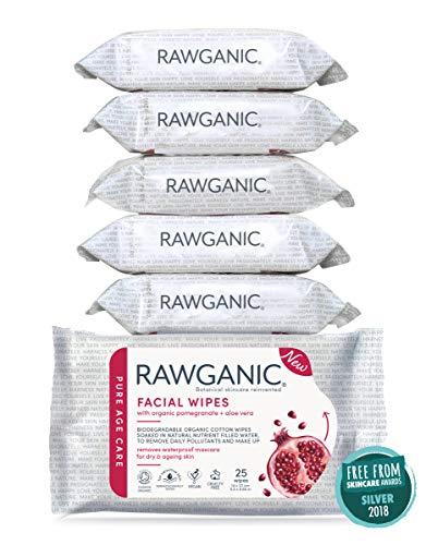 RAWGANIC Toallitas faciales anti-edad con Granada + Aloe Vera bio | Hidratacion, Sin Alcohol, Sin perfumes, Toallitas Organicas de algodon (set de 6 unidades)