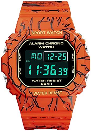 QHG Reloj de dragón electrónico Digital Digital Digital Digital de la muñeca de los Hombres Relojes de Pulsera Masculina Militar Resistente al Agua (Color : Red)