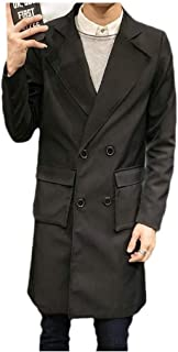 Mogogo Mens Notched Lapel Mid-Long Windbreaker Gentleman Outdoor Outdoor Coat