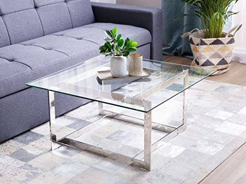 Beliani Moderner Couchtisch aus Glas mit Metallgestell Silber Crystal