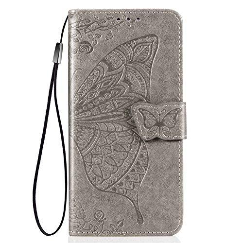 GOGME Hülle für LG K52/K62/Q52 Hülle, Schmetterling Geprägtem PU Leder Magnetische Filp Handyhülle mit Kartensteckplätzen/Standfunktion, Anti-Rutsch Schutzhülle. Grau