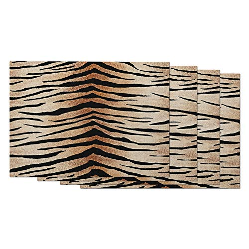 AOYEGO Tiger Skin Pattern Placemats Set of 4 Leopard Print Leopard Cheetah Wild Animal Brown Stripes Placemats for Dining Table 12X18 Inch Cotton Linen for Home Kitchen