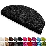 Floordirekt Stufenmatten Treppenmatten Shaggy - Venus Halbrund 10 Aktuelle Farben SparSet 15 Stck. (schwarz) - 3