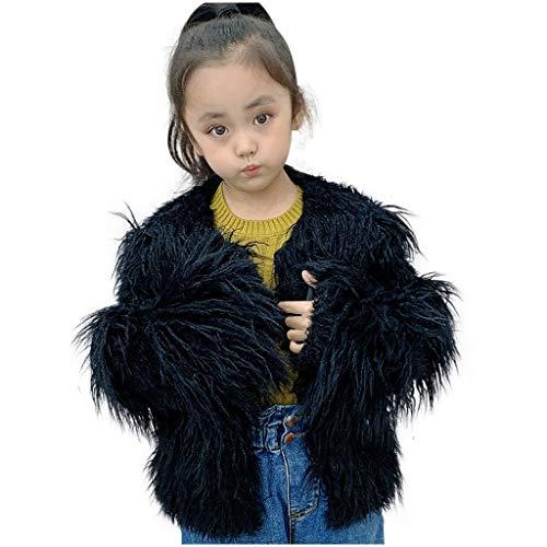 Pistachio - Chaleco para niñas, sin mangas cortas, de piel auténtica de conejo, con pompones, para mujeres cálidas de invierno Negro L