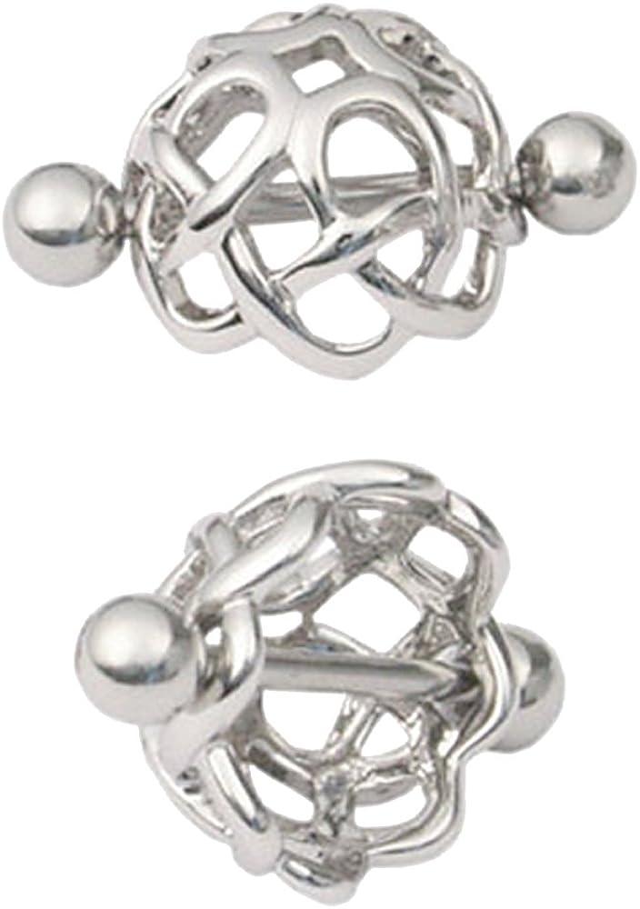 Pair of Tribal Open Flower Nipple Covers Shield Rings Body Jewelry Piercing bar Barbell Ring 14g Gauge