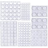 202 PCS Bumper Pads Cupboard Door Clear Rubber Feet Pads Furniture Noise Dampening Buffer Pads Surface Protection Self Adhesive Anti-Skid Close Stop Dots in Round Square Shape 6 Size