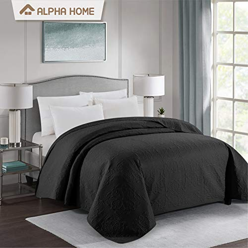 ALPHA HOME Bed Quilt Bedspread and Coverlet, Twin Size, Black