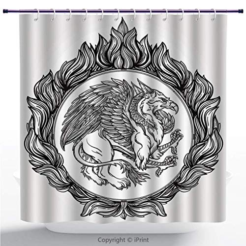 changchuan Popular Shower Curtain/Vintage,Mythological Winged Magic Beast Griffin In Ring of Fire Victorian Heraldry Emblem,Black White/Fabric Bathroom Decor Set with Hooks / 72 Inches 72x72 Inch
