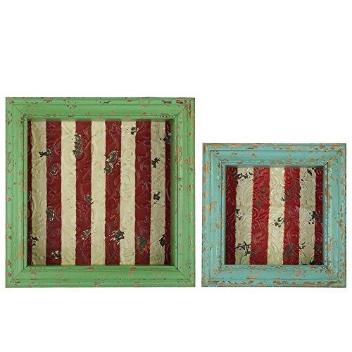 Urban Trends Holz Shadow Box mit gestreift, Rücken rot, Distressed rot und gelb, Set von 2