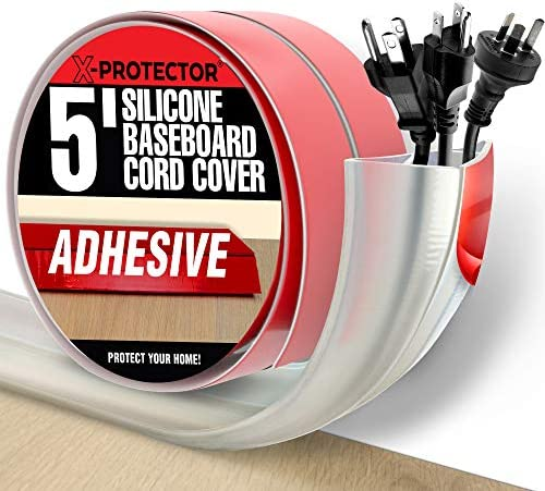 Floor Cord Cover X Protector 5 Silicone Baseboard Cord Protector for Corners Over floor Cord product image