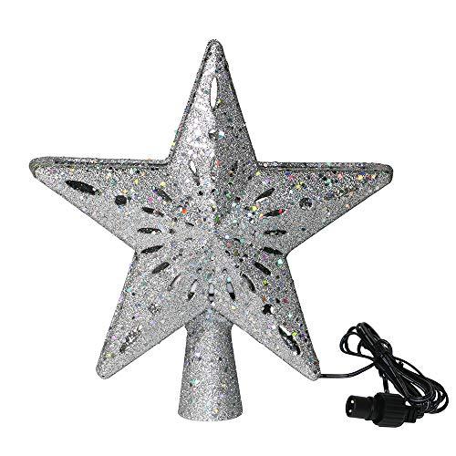 SZFREE 3D Flashing Stars Christmas Tree Topper Decoration Led Rotatable Snowflake Projection Light Christmas Tree Pendant