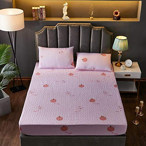 Elasticidad y Antiarrugas Protector de Colchón Super king, fundas de colchón transpirables, protector de sábana estampada de algodón, fundas de almohadillas de dibujos animados, rosa 200 * 200 cm