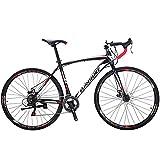 Road Bike TSM 550 49 cm Frame 21 Speed Dual Disc Brake 700C Wheels Bicycle Black White