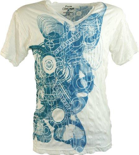 Guru-Shop Pure - Camiseta para hombre, algodón, estampada, alternativa Dance blanco. L
