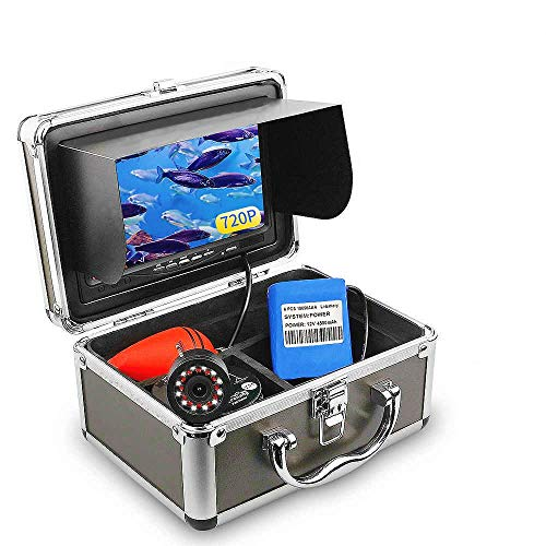 OVETOUR Portable Underwater Fishing Camera, Fish Finder with 7'' 1280 X 720P AHD IPS Screen, 24 Lights, IP68 Waterproof Camera, 15M Cable, for Ice, Lake, Boat, Sea Fishing