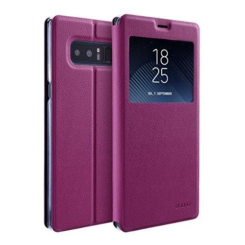 doupi FlipHülle für Samsung Galaxy Note 8, Deluxe Schutzhülle mit Sichtfenster Magnet Verschluss Klappbar Book Style Aufstellbar Ständer, rot pink