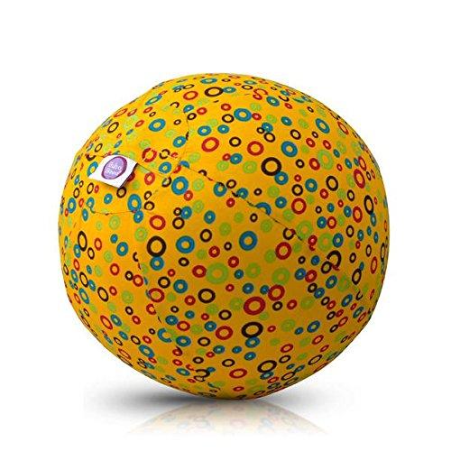 BubaBloon BB-17704 Bubbles (Yellow) -Ballonhülle, Gelb Mit Farbigen Kreisen, 30 cm Durchmesser