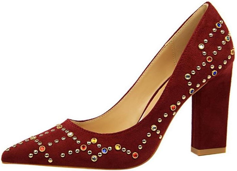 Gusha colorful Rhinestone high Heels Wedding shoes Shallow Mouth Heel shoes Ladies
