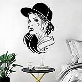Tianpengyuanshuai Salón de Belleza Pegatina de Pared Tatuaje de Pelo Moda Hip Hop decoración de habitación Vinilo extraíble póster decoración Mural -57x86cm