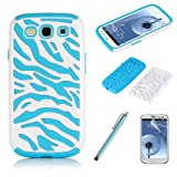 Pandamimi Light Blue White Zebra Combo Hard Soft High Impact Samaung Galaxy s3 i9300 Armor Case Skin Gel with free screen protector and stylus