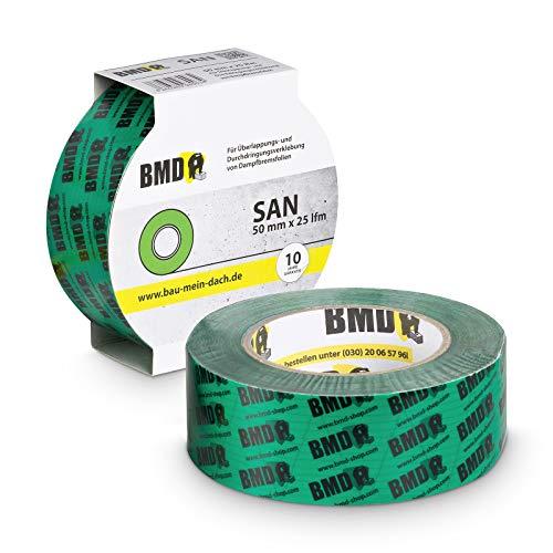 2x BMD - san Hochleistungsklebeband (Grün - 50mm x 25lfm) zur Verklebung von Dampfsperrfolie Dampfbremsfolie nach DIN Norm 4108 Teil 7 Klebeband