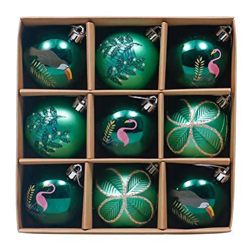 Juego de bolas navideñas pintadas 6cm/9pcs Bolas inastillables Bolas decoradas brillantes, mates y brillantes Bolas del árbol de Navidad Decoración de bolas navideñas colgantes del árbol de Navidad
