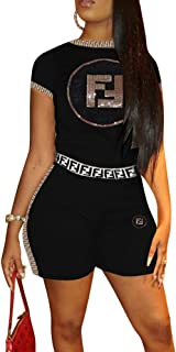 Womens 2 Piece Outfits Letters Sequined Applique Short Sleeve Top and Skinny Shorts Tracksuit Set