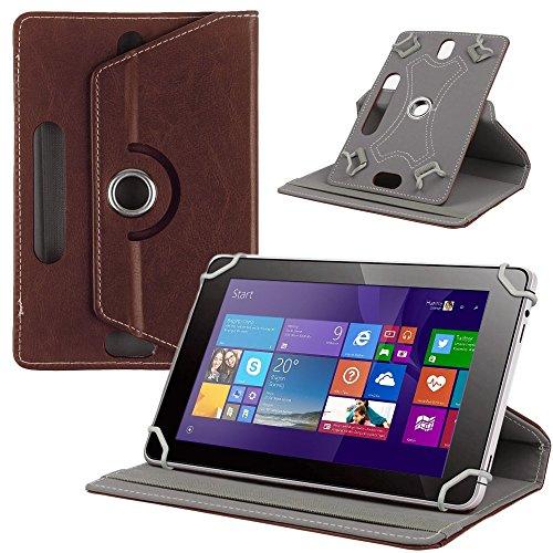 NAUC Tasche Hülle für ODYS Ieos Quad 10 Pro Schutzhülle Tablet Cover Hülle Bag Etui, Modellauswahl:Braun 360° mit Univ. Kameraausschnitt