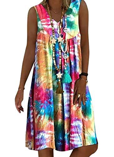 Vera Damen Sommer Freizeit Blumenmuster Boho V-Ausschnitt Strand midi Kleid (M, Multicolor)