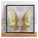 CCZWVH Decoración nórdica Moda Lienzo Pintura Póster e Impresión Único Moderno My Golden Wings Angel Wall Art For Sala Room Aisle 20x20in Sin Marco