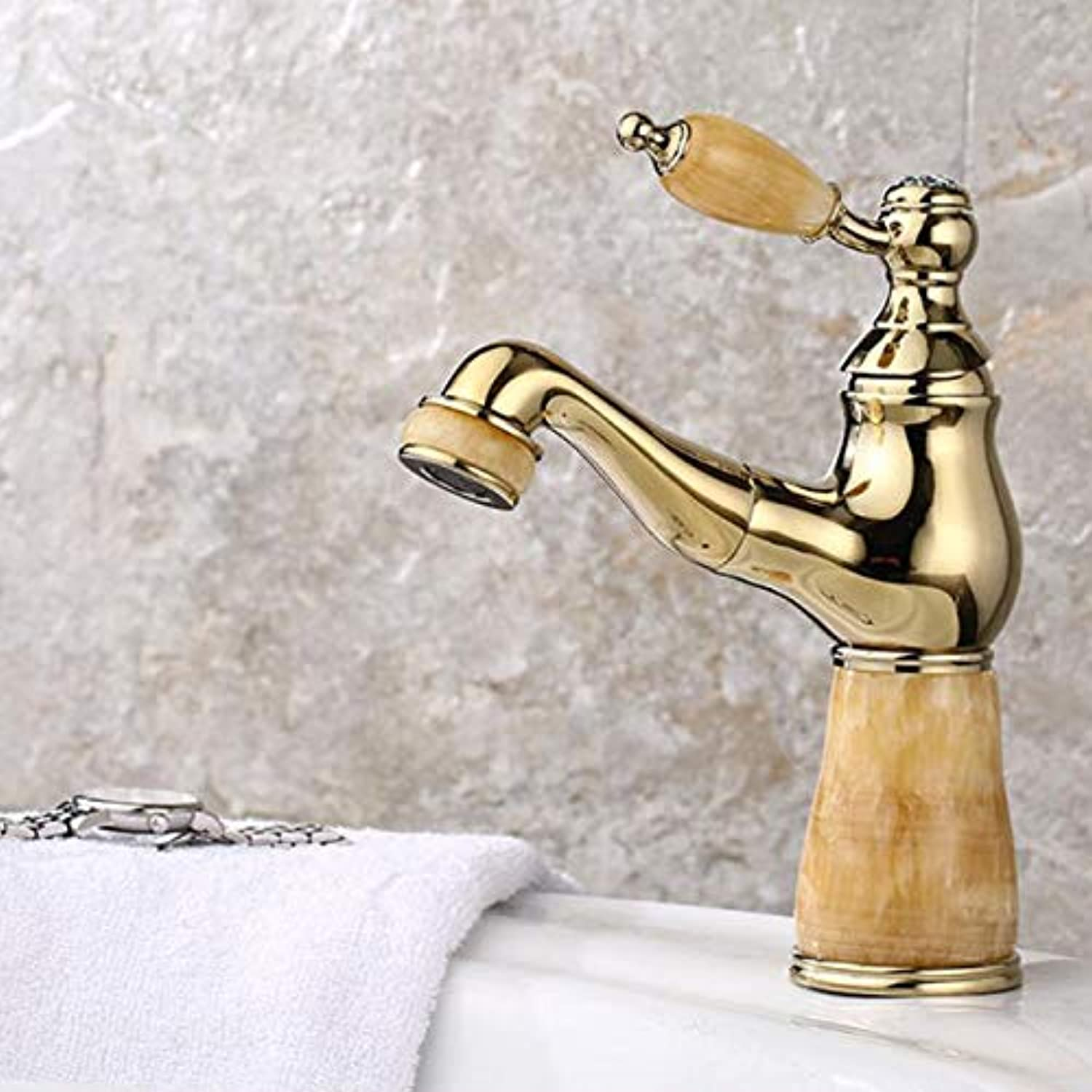 Bathroom Sink Faucet, Copper Pullable Faucet, Jade Bathroom Basin Single Hole Basin Hot And Cold Water Faucet