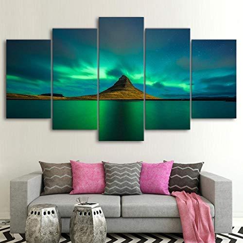 BXZGDJY Leinwand Wandkunst Bilder Wohnkultur Für Wohnzimmer 5 Stück Island Aurora Gemälde Modulare Hd-Drucke Vulkan Poster 150X100CM Bild Bilder auf Leinwand 5 teilig Poster für Home Wohnzimmer Büro