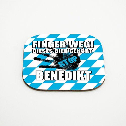 Untersetzer für Gläser mit Namen Benedikt und schönem Motiv - Finger weg! Dieses Bier gehört Benedikt