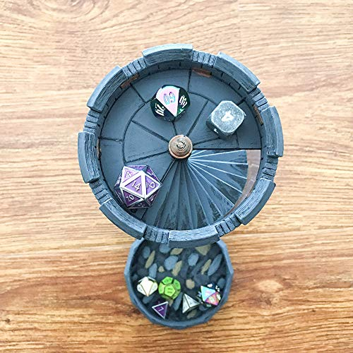Truewon Standard Size Dice Tower Tray Box for RPGs Board Games Accessories Metal Dice Equipment Good for Dragon and Dungeon D20 DND D&D Gray