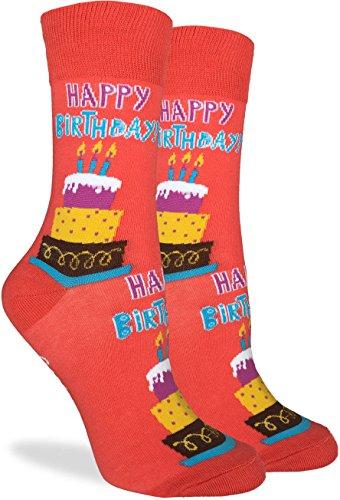 Good Luck Sock Womens Happy Birthday Crew Socks - Orange, Adult Shoe Size 5-9