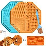 Leckmatte Hund, BPA-frei, 2 StüCk Schleckmatte Hund Mit 1 Silikonspaten, Langsamer Futterautomat Hund Lecken Pad Mit Starker Saugkraft, Leckmatte FüR Hunde FüR Hundebaden, Training, Klauenpflege