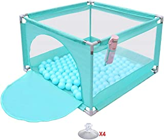 LOVE BABY Lovebaby Playpen Household Baby Anti-fall  Toddler Playard  Safety Game fence  Lightweight and Washable  Steel Pipe - 105x105x66cm  Color Green