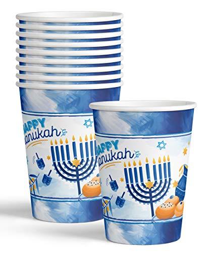 Hanukkah Cups - 9 oz - 20 Pack - Hanukkah Paper Goods - Blue and White Chanukah Themed Party Supplies