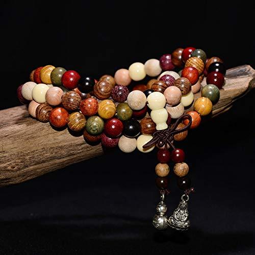AUTULV Herrenarmband 108 * 6Mm / 8Mm Vielzahl Von Sandelholz Tibetischen Buddhistischen Gebetskette Armbänder Buddha Mala Rosenkranz Holz Bettelarmband
