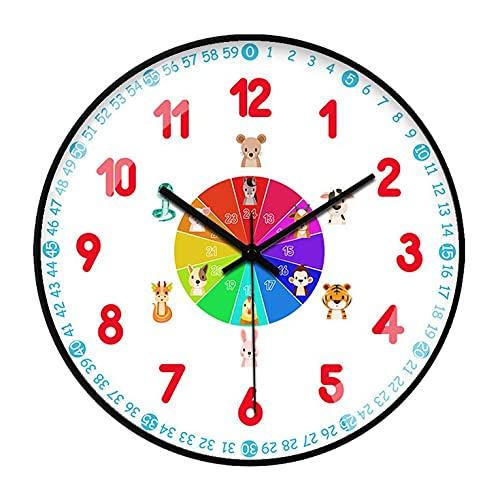 QiKun-Home Reloj de Pared para el Aprendizaje de la Primera Infancia, Creativo, Ultra silencioso, Sala de Estar, Sala de Estar, Mesa de reconocimiento, Reloj de Pared, 242 Negro