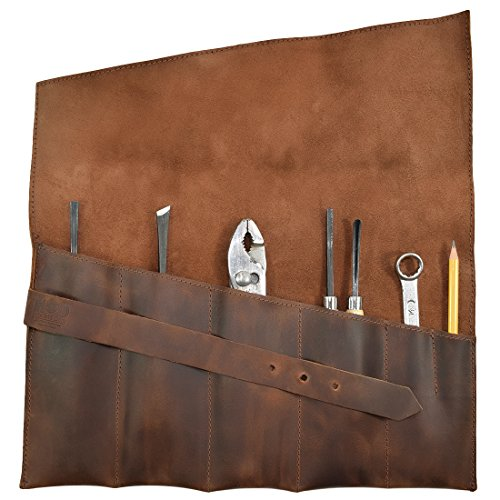 Hide & Drink, Rustic Leather Large Tool Roll Up Bag (6 slots), Portable Carry On Pouch Workshop Storage Woodworking Tools Organizer, Vintage, Handmade Includes 101 Year Warranty :: Bourbon Brown