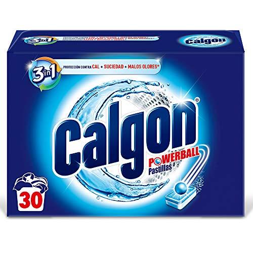 Calgon Powerball Pastillas - Antical para la Lavadora, Elimina Olores y Suciedad, en formato pastillas, 30 unidades