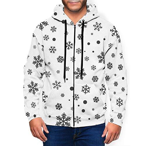qingdaodeyangguo Snowflake Seamless Pattern Winter Men's Zipper Hoodies Sweatshirt Long Sleeve Coat with Pockets