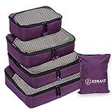 ZOMAKE Set da 4 Organizer Valigie, Cubi da Imballaggio Valigia per Viaggiare Bagaglio(Porp...
