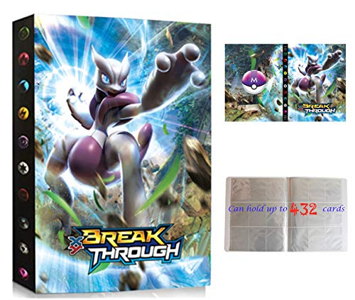 Classeur Compatible Avec Cartes Pokemon, Porte Compatible Avec Cartes Pokemon, Album Titulaire Compatible Avec Cartes Pokemon, 24 pages peut contenir jusqu'à 432 cartes (3D-Mewtwo)