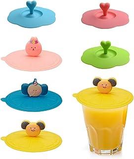 Chingde Tapas de silicona para tazas 6 piezas Tapa de succi/ón para taza Tapa de la taza de t/é con tapa de taza en forma de coraz/ón Tapa de tapa de bebida reutilizable de vidrio